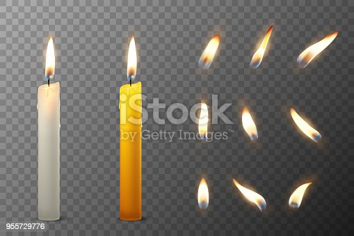 Vector 3d realistic white and orange paraffin or wax burning party candle and different flame of a candle icon set closeup isolated on transparency grid background. Design template, clipart for graphics.