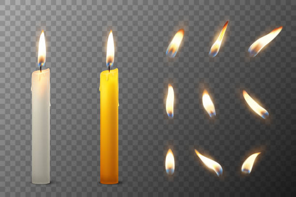 vector 3d realistic white and orange paraffin or wax burning party candle and different flame of a candle icon set closeup isolated on transparency grid background. design template, clipart for graphics - anniversary silhouettes stock illustrations