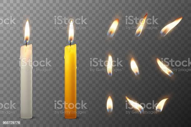 Vektor 3d Realistiska Vit Och Orange Paraffin Eller Vax Brinnande Part Ljus Och Olika Lågan Av En Ljus Ikonen Uppsättning Närbild Isolerade På Öppenhet Rutnät Bakgrund Formgivningsmall Clipart För Grafik-vektorgrafik och fler bilder på Antända