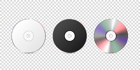 Vector 3d Realistic White, Black and Multicolor CD, DVD Closeup Isolated on Transparent Background. Design Template for Mockup, Copy Space. Front View