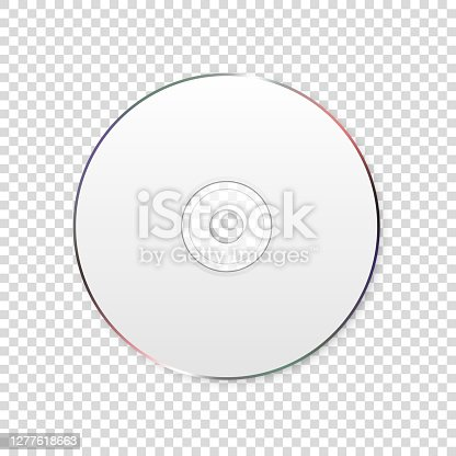 istock Vector 3d Realistic White CD, DVD Closeup Isolated on Transparent Background. Design Template for Mockup, Copy Space. Top View 1277618663