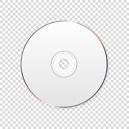 Vector 3d Realistic White CD, DVD Closeup Isolated on Transparent Background. Design Template for Mockup, Copy Space. Top View