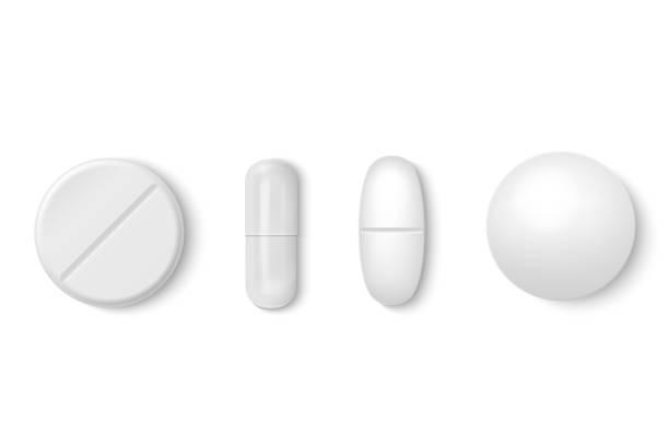 illustrations, cliparts, dessins animés et icônes de vecteur 3d réaliste pilule médical blanc icon set closeup isolé sur fond blanc. modèle de conception de pilules, de capsules pour le graphisme, maquette. concept de médecin et soins de santé. vue de dessus - planning familial