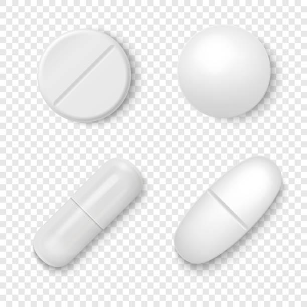 vector 3d realistic white medical pill icon set closeup izolowane na przezroczystym tle. szablon projektu pigułki, kapsułki do grafiki, makieta. koncepcja medyczna i zdrowotna. widok z góry - kapsułka stock illustrations