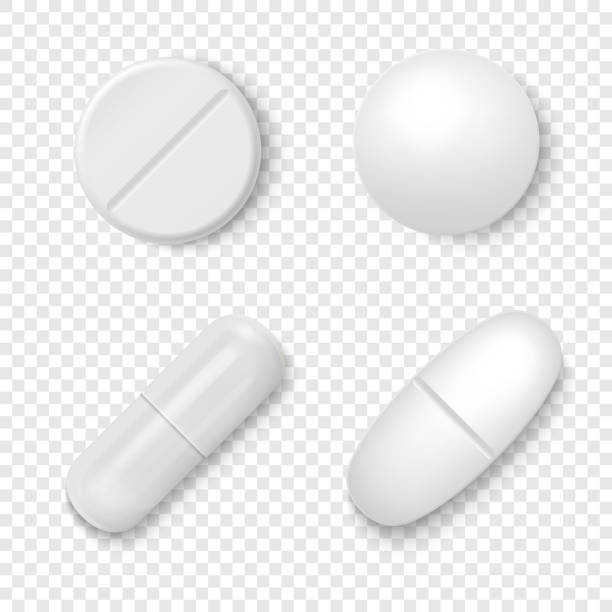 ilustrações de stock, clip art, desenhos animados e ícones de vector 3d realistic white medical pill icon set closeup isolated on transparent background. design template of pills, capsules for graphics, mockup. medical and healthcare concept. top view - pills