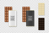 Vector 3d Realistic White, Milk and Dark Black Brown Chocolate Bar Icon Set Closeup Isolated on Transparent Background. In Wrapper and Without. Design Template of Package, Delicious Dessert. Top View.