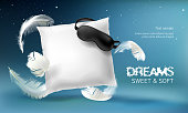 Vector 3d realistic white pillow illustration