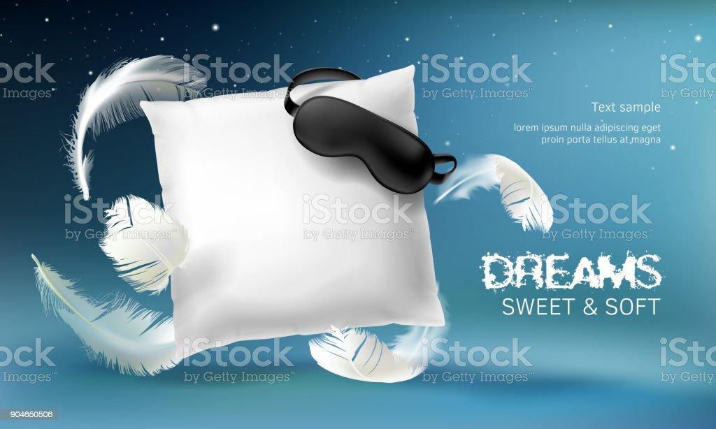 Vector 3d realistic white pillow illustration vector art illustration