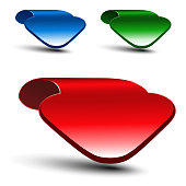 Vector 3d red, green and blue arrow on white background. Simple arrow buttons. Web link or pointer. Symbol of next, read more, play, go etc. - illustration