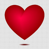 Vector 3d red heart shape isolated on white background