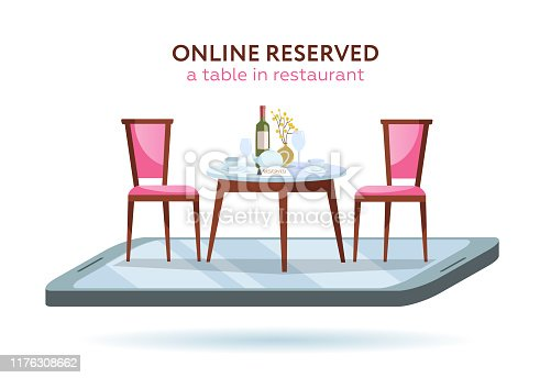 Vector 3d restaurant online booking concept. Smartphone with served table and 2 elegant chairs. Red wine bottle, tray, glasses, plates and vase. Flat cartoon vector illustration on white background.