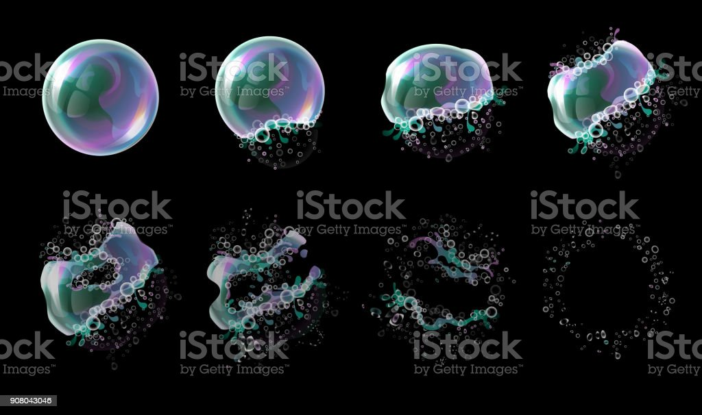 Vector 3d soap transparent bubble stages of the explosion. Water spheres, realistic balls, soapy balloons, soapsuds. vector art illustration