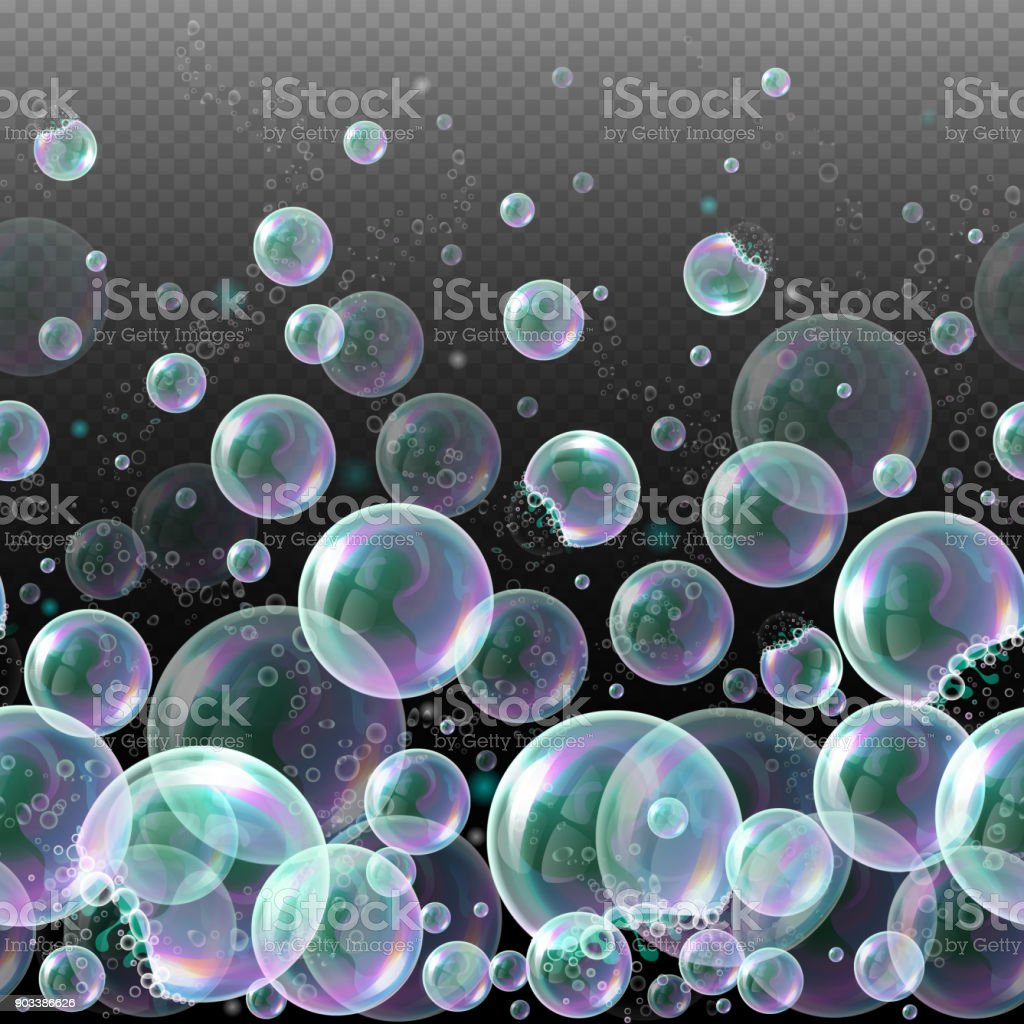 Vector 3d soap transparent bubbles. Water spheres, realistic balls, soapy balloons, soapsuds. vector art illustration