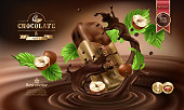 Splashes of melted chocolate with falling chocolate bar in a torn wrapper and nuts, vector 3D realistic illustration. Mock up advertising poster for promoting elite dark chocolate