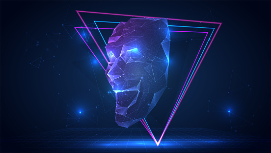 vector 3d theatrical mask of emotions from triangular polygons on a blue background