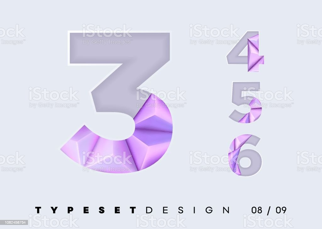 Vector 3d Typeset Design Futuristic Textured Alphabet With