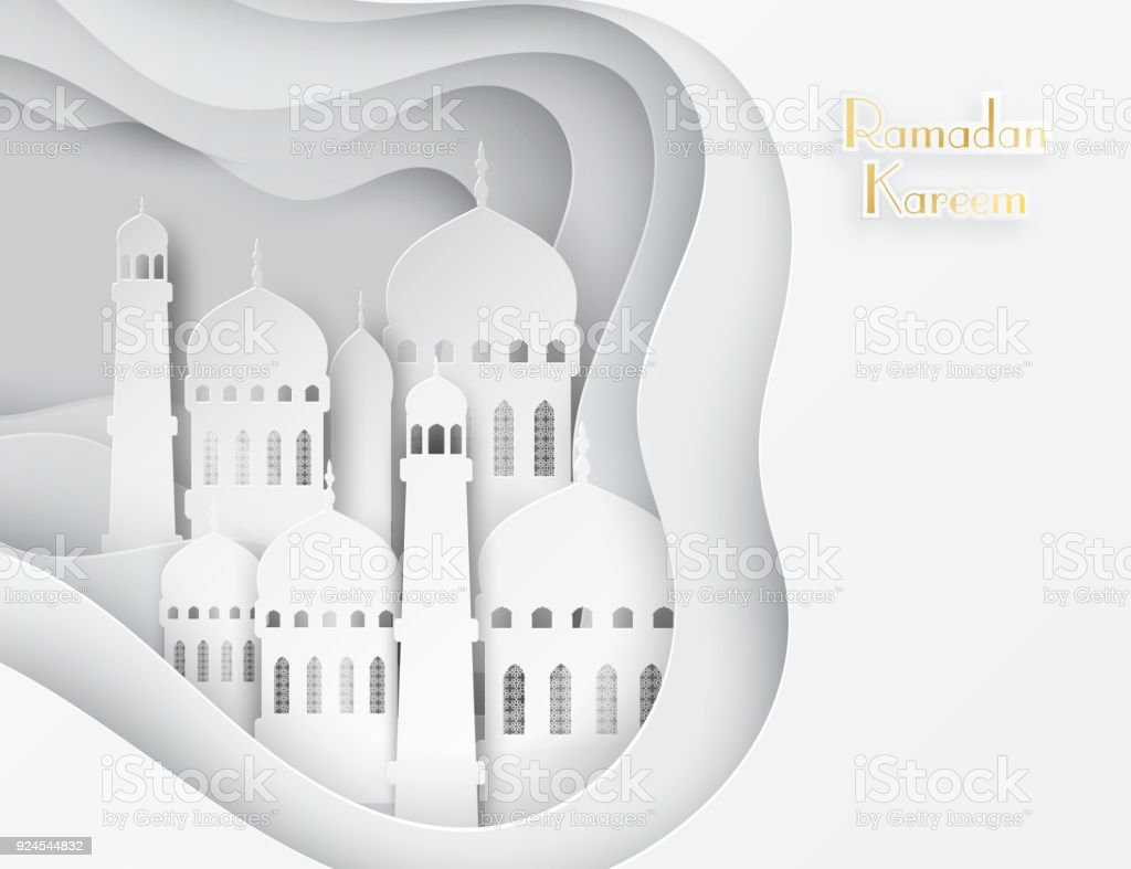 Vector 3d white paper mosque ramadan kareem greeting card with ramadan kareem greeting card with arabic origami mosque royalty kristyandbryce Gallery