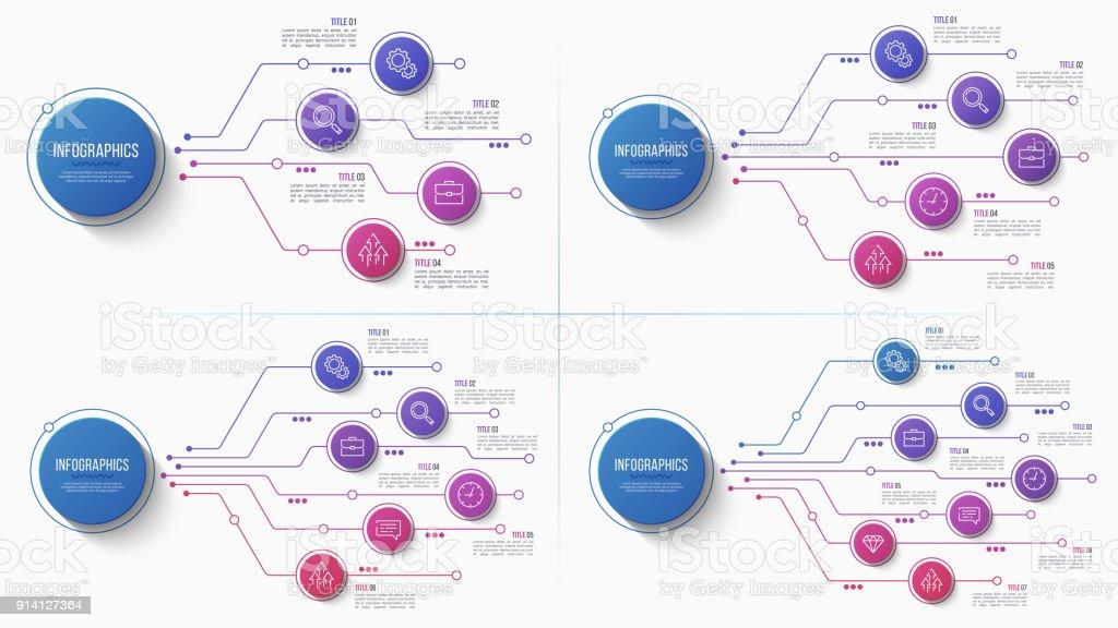 Vektor 4 5 6 7 Optionen Infografik Struktogramm – Vektorgrafik