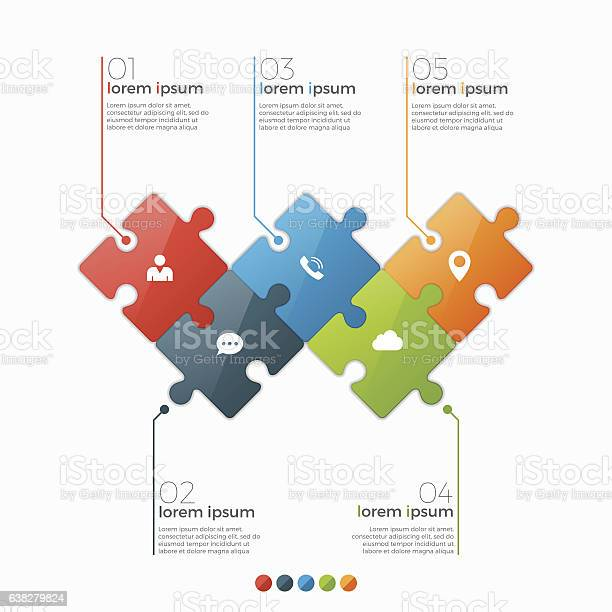 Vector 5 options infographic template with puzzle sections vector id638279824?b=1&k=6&m=638279824&s=612x612&h=epj7ffsnkyoxpc8yrz18sjzbjnvv9hsprzfnme3fynk=