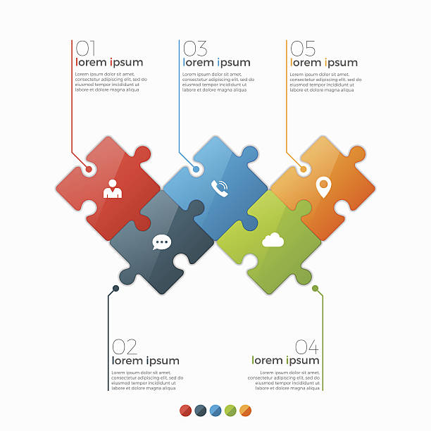 stockillustraties, clipart, cartoons en iconen met vector 5 options infographic template with puzzle sections - puzzel pieces