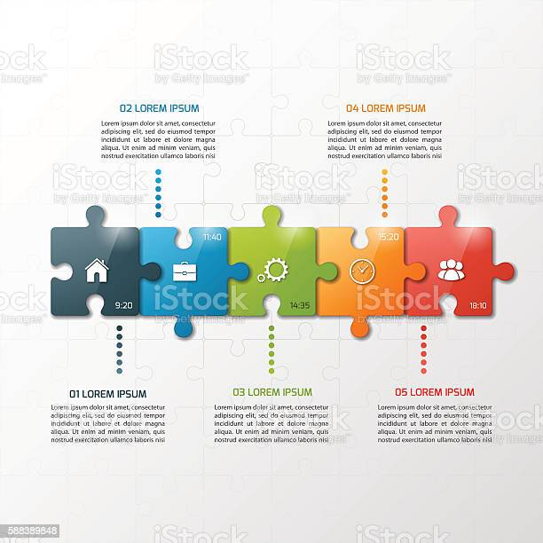 Vector 5 steps puzzle style timeline infographic template vector id588389848?b=1&k=6&m=588389848&s=612x612&h=jzco4qxee5dqgkabwsltd7iergtenrg rbv0u bbamc=