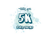 5k followers thank you social media template. 5000 subscribers congratulation post with handwritten lettering and watercolor splash blot. Vector illustration.