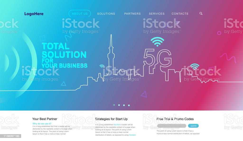 Vector 5g And Iot Landing Page With Digital Communication