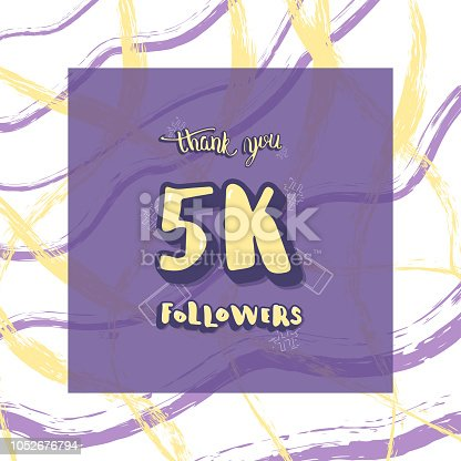 istock Vector 5k followers thank you social media template. 1052676794