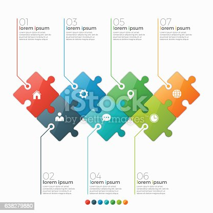 istock Vector 7 options infographic template with puzzle sections 638279880