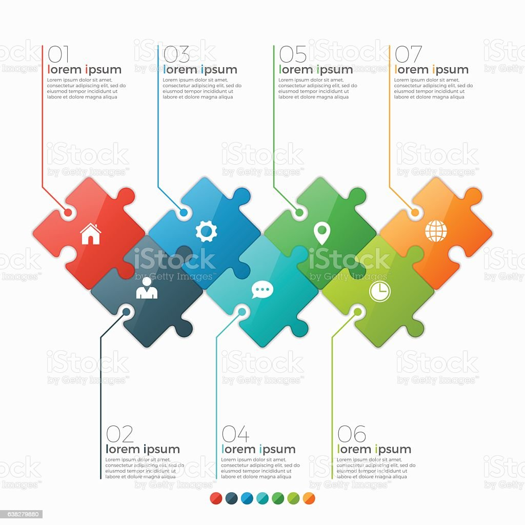 Vector 7 options infographic template with puzzle sections vector art illustration