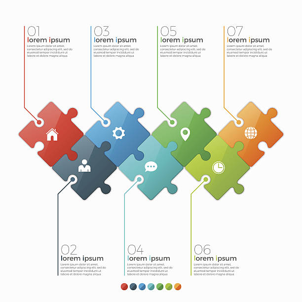 vector 7 options infographic template with puzzle sections - pojedynczny stopień stock illustrations