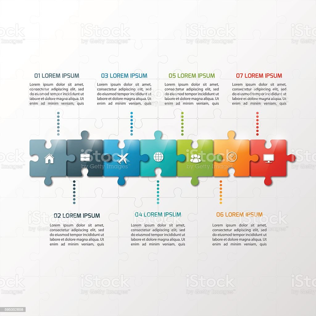 Vector 7 steps puzzle style timeline infographic template. vector art illustration