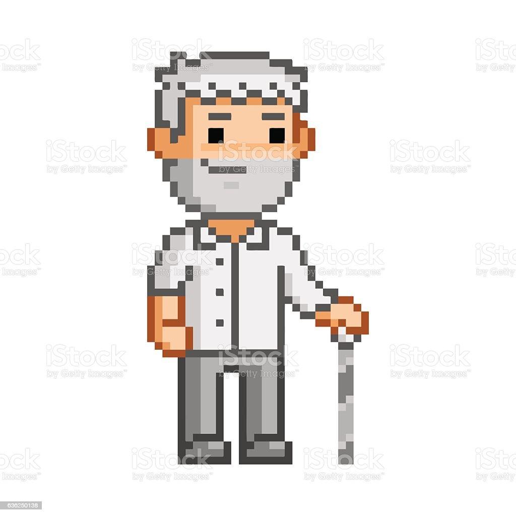 Vector 8 bit pixel art elderly man - ilustración de arte vectorial