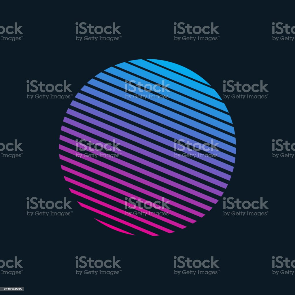 Vector 80s Retro Style Striped Shape vector art illustration