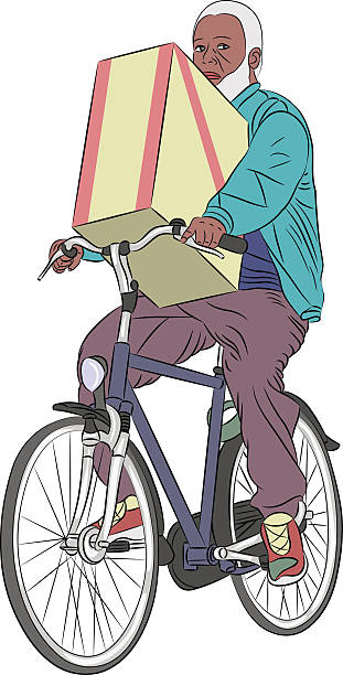 vector. a man on a bicycle. - old man on bike stock illustrations, clip art, cartoons, & icons