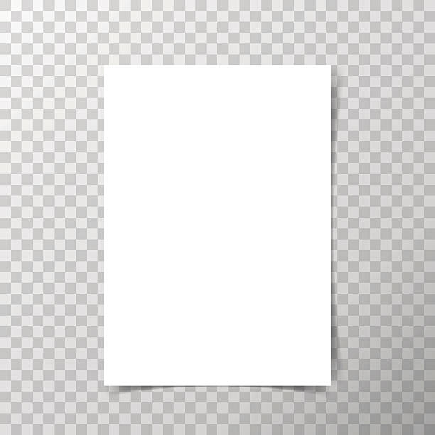ilustrações, clipart, desenhos animados e ícones de papel de formato vetor a4 com sombras em fundo transparente. - papel