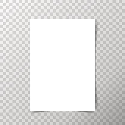 Vector A4 Format Paper With Shadows On Transparent Background Vecteurs libres de droits et plus d'images vectorielles de Abstrait