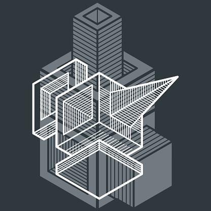 Vector Abstract 3d Geometric Shape Polygonal Figure Stock