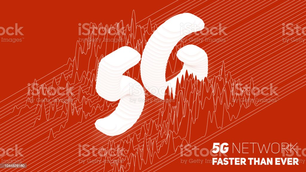 Vector abstract 5G new wireless internet connection background. Global network high speed network. Sliced 3d 5G symbol on a red background with wave pattern. Signal spectrum. vector art illustration