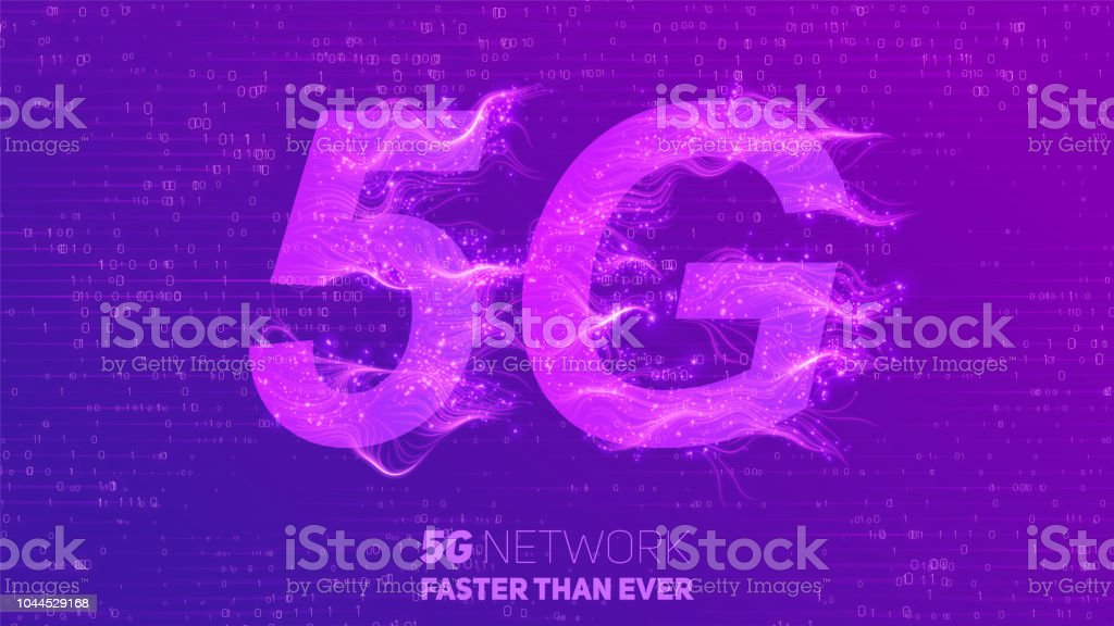 Vector abstract 5G new wireless internet connection background. Global network high speed network. Abstract 5G symbol with shiny curly lines and tiny glowing dots trails on a white background. vector art illustration