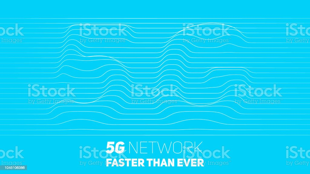 Vector abstract 5G new wireless internet connection background. Global network high speed network. Abstract 5G symbol with volumetric embossed curly lines on a blue background. vector art illustration