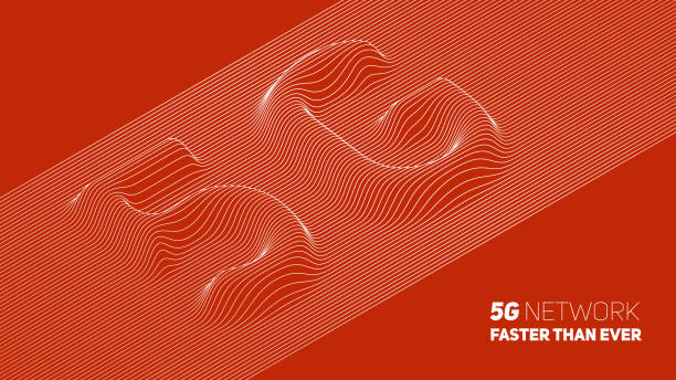 Vector abstract 5G new wireless internet connection background. Global network high speed network. Abstract 5G symbol with volumetric embossed curly lines on a red background. vector art illustration