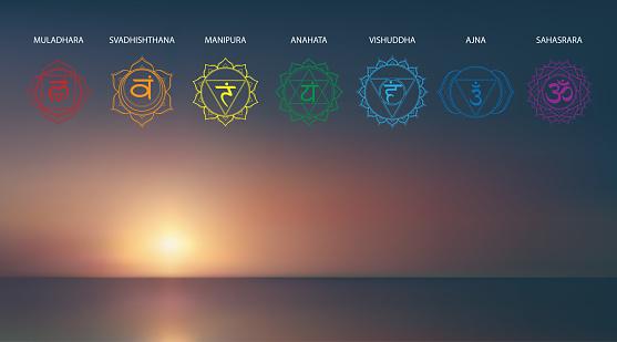 Vector abstract aerial panoramic view of sunrise over ocean with chakras icon set: muladhara, swadhisthana, manipura, anahata, vishuddha, ajna, sahasrara. Illustration of meditation and relaxation.