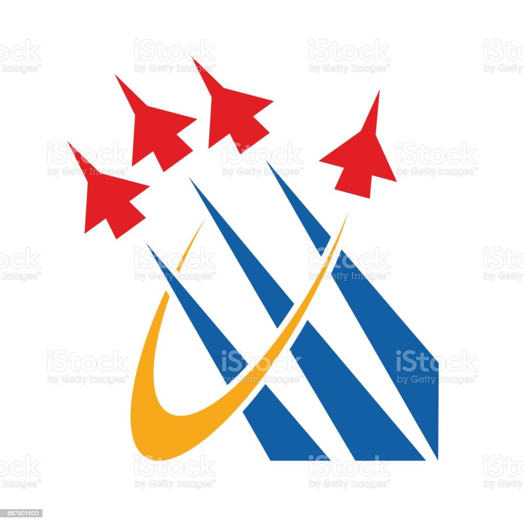 Vector abstract airshow, display airplane vector art illustration