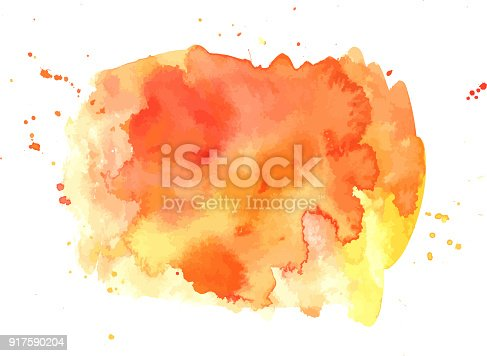 An abstract artistic vibrant orange watercolor background texture, scalable vector graphic with a place for text