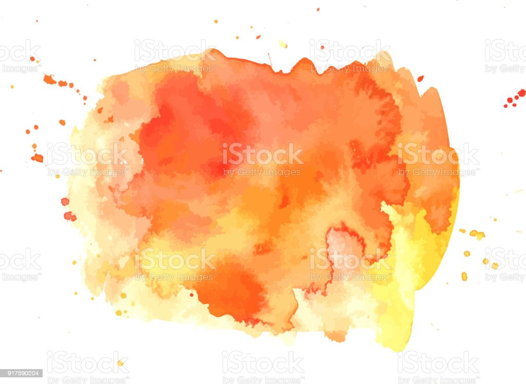 Texture abstrait artistique vibrante fond aquarelle orange vecteur - Illustration vectorielle