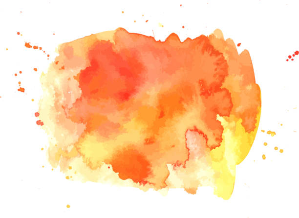 vector abstract artistic vibrant orange watercolor background texture - orange color stock illustrations