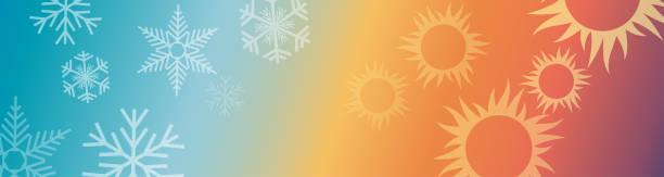 illustrazioni stock, clip art, cartoni animati e icone di tendenza di riscaldamento e raffreddamento domestico astratto vettoriale. intestazione e banner - calore concetto