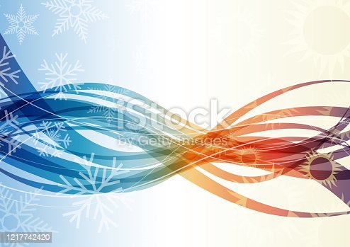 istock Vector abstract background domestic heating and cooling with waves and wind 1217742420