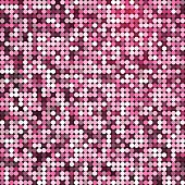 Vector glamorous abstract retro vintage pixel mosaic background of sparkling sequins for design. Pink disco shiny lights. Multicolor texture.